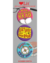 Get Lost in a Good Book 3-Button Assortment