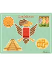 Cuauhtémoc Bilingual Wooden Shapes Puzzle